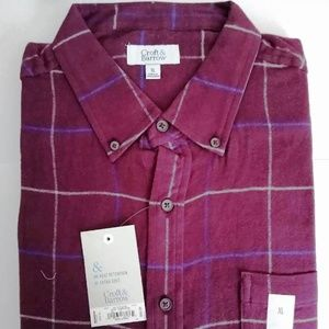 Croft & Barrow Soft Flannel Shirt Burgundy Plaid